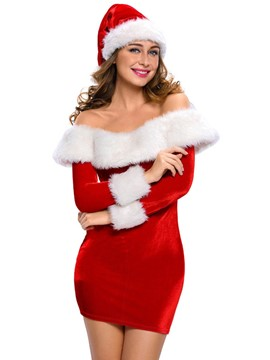 Ericdress Off-Shoulder Sexy Slim Santa Cosplay Christmas Costume