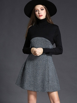 Ericdress Turtleneck Patchwork Pleated Above Knee Casual Dress