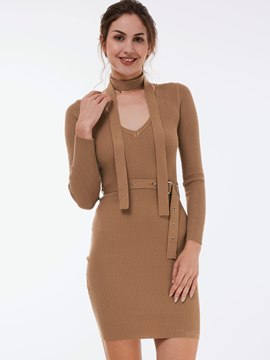 Ericdress V-Neck Long Sleeve Solid Color Sheath Dress