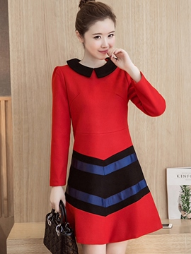 Ericdress Lapel Strip Patchwork Trumpet Casual Dress