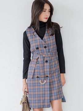 Ericdress Preppy Plaid Double-Breasted Leisure Suit