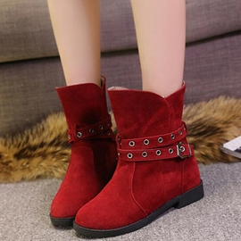 Ericdress Pretty Buckles Round Toe Ankle Boots