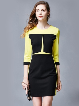 Ericdress Color Block Back Zipper Bodycon Dress