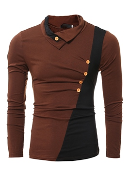 Ericdress Color Block Heap Collar Casual Men's T-Shirt