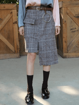 Ericdress Asymmetric Plaid Print Belt Usual Skirt