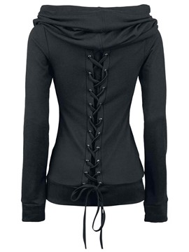 Ericdress solide couleur tas Lace-Up Hoodie