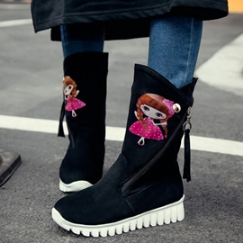 Ericdress Sweet Cartoon Print Flat Boots