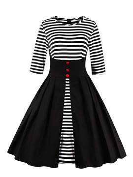 Ericdress Stripe Patchwork Button A Line Dress