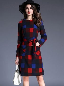 Ericdress Plaid Colkor Block Print Lace-Up Casual Dress