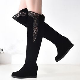 Ericdress Chic Lace Patchwork Elevator Heel Knee High Boots