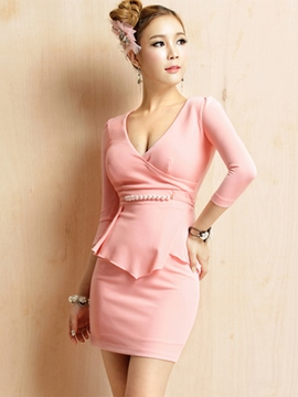 Ercidress Pink V-Neck Beads Boodycon Dress