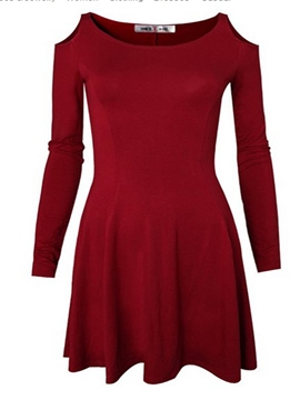 Ericdress Off-The-Shoulder Round Collar Above Knee Casual Dress
