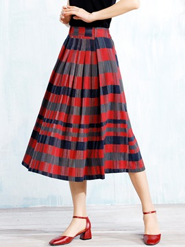 Ericdress Plaid Pleated Usual Skirt