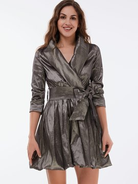 Ericdress Plain Lace-Up Vintage Long Sleeve Casual Dress