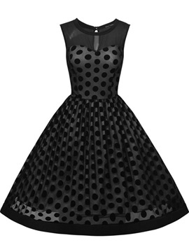 Ericdress Mesh Polka Dots Sleeveless Casual Dress
