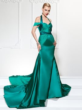 Ericdress Halter Off The Shoulder Court Train Mermaid Evening Dress