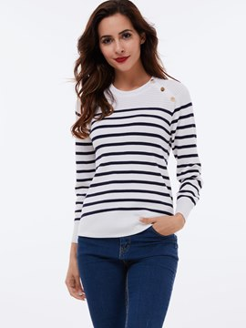 Ericdress Stripe Button Detail T-Shirt