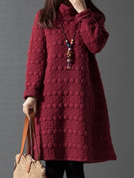 Ericdress Solid Color Turtleneck Casual Dress