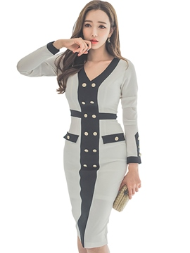 Ericdress V-Neck Two-Piece Suit Button Bodycon Dress