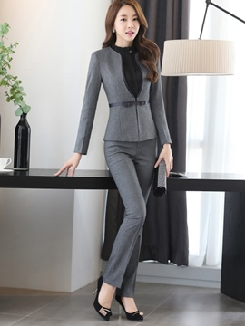 c5eb5aae56 Ericdress Solid Color Two-Piece Formal Suit