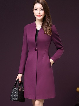 Ericdress Elegant Slim Solid Color Trench Coat