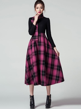 Ericdress Plaid High-Waist Patchwork Pleated Maxi Dress