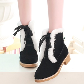 Ericdress Delicate Furry Lace up Snow Boots