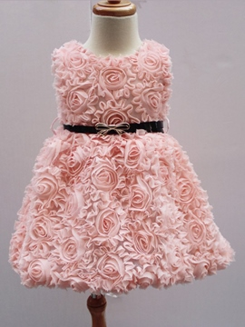Ericdress Rose Flower Belt Sleeveless Girls Dress
