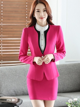 Ericdress Simple Color bloque Blazer traje Formal