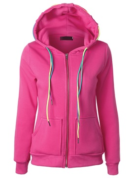 Ericdress Color Block Lace-Up Hoodie