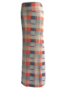 Ericdress Simple Bodycon Plaid falda Maxi