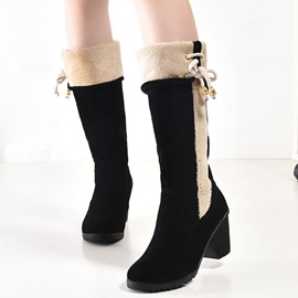 Ericdress Patchwork Chunky Heel Knee High Boots