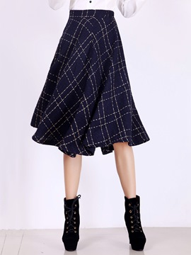 Ericdress Preppy Plaid Usual Skirt