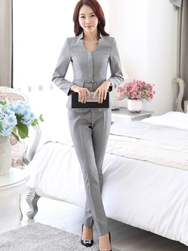 Ericdress Plain Color Long Sleeve Slim Blazer Suit