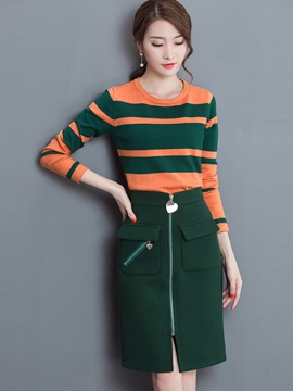 Ericdress Stripe Print Zipper Sweater Leisure Skirt Suit