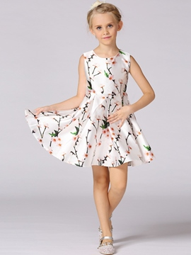 Ericdress Floral Sleeveless Princess Girls Dress