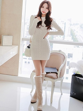 Ericdress Weave Slim Above Knee Sweater Dress