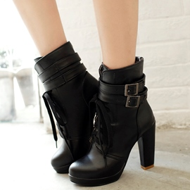 Ericdress PU Platform Buckles Lace up High Heel Boots