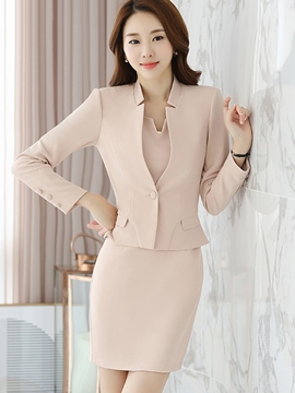 Ericdress Plain Color One Button Dress Suit