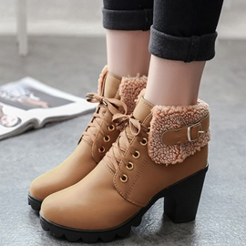 Ericdress Short Floss Chunky Heel Ankle Boots