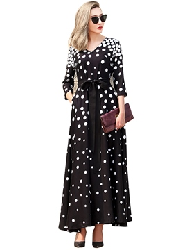Ericdress pois Lace-Up Maxi robe plissée