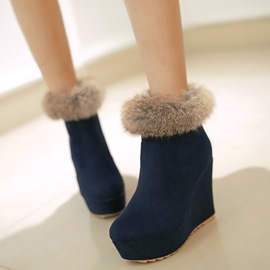 Ericdress Suede Platform Wedge Ankle Boots