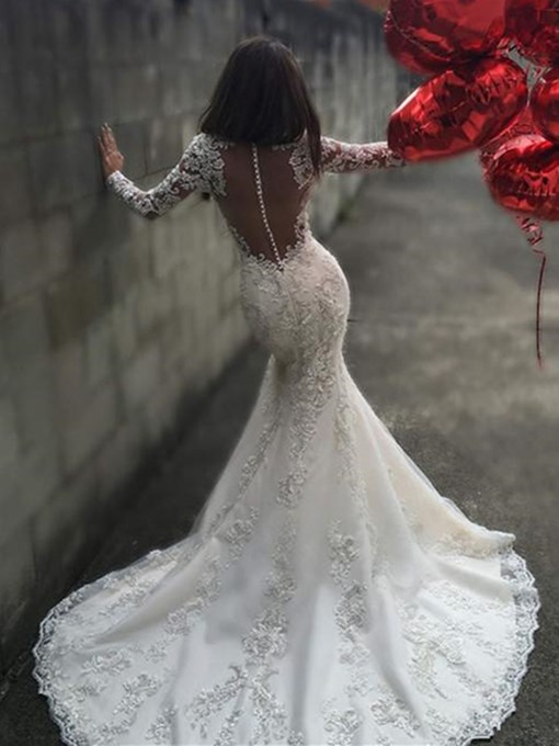 Ericdress Button Mermaid Long Sleeves Lace Wedding Dress