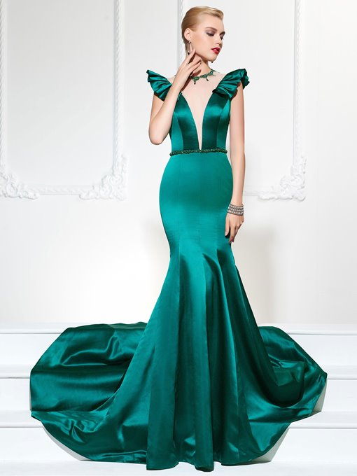 Ericdress Vintage Cap Sleeve Mermaid Evening Dress With Beadings