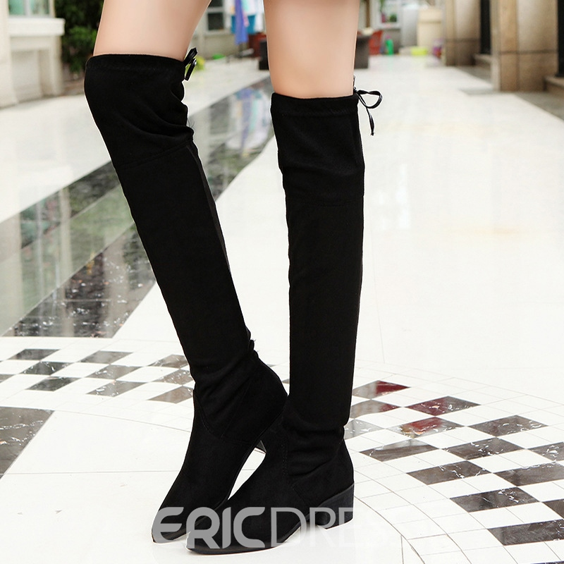 Ericdress Suede Back Lace up Knee High Boots 12476385
