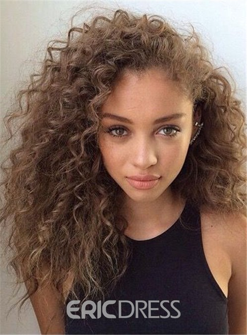 Ericdress Fashionable Medium Curly Human Hair Lace Front Cap Wig 16 Inches 12810194