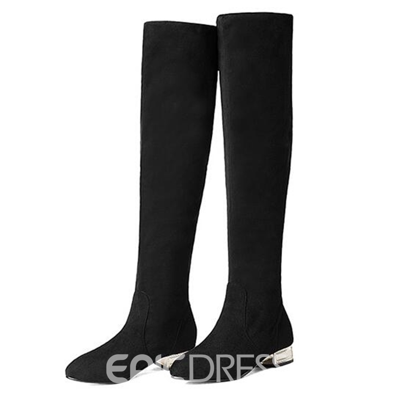 Ericdress Suede Square Heel Knee High Boots