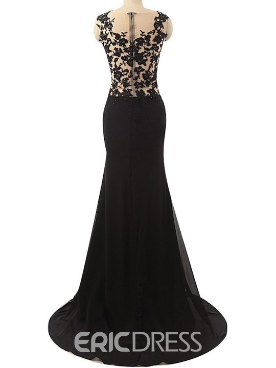 Ericdress Sheath Scoop Appliques Sequins Split-Front Evening Dress