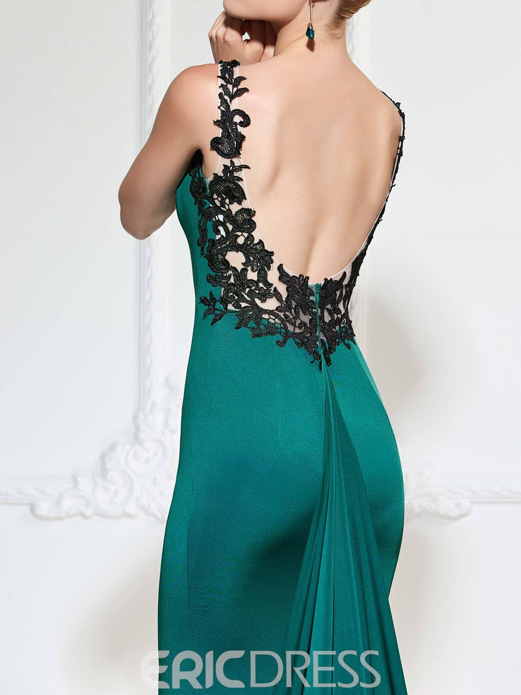 Ericdress Straps Appliques Low Back Mermaid Evening Dress