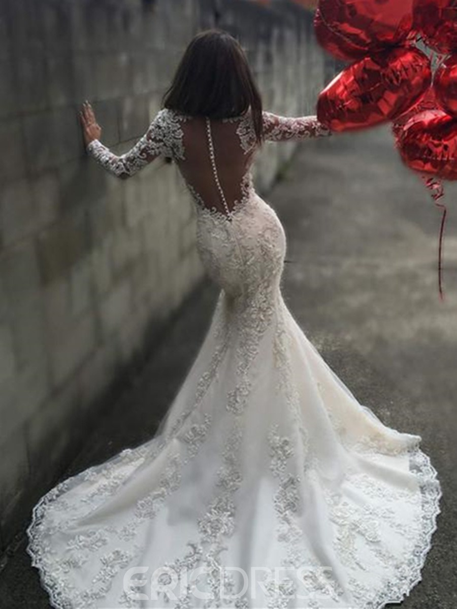 Ericdress backless mermaid long sleeves sexy illusion neck wedding ericdress backless mermaid long sleeves sexy illusion neck wedding dress junglespirit Images
